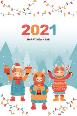 New year or Christmas card funny bulls with gifts and sweets. Ox in the winter coniferous forest. Festive vector illustration with glowing light bulbs garlands and greeting inscription. Symbol 2021 Ilustrace