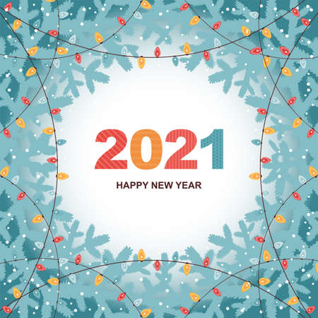 Christmas and Happy New Year banner or card. Holiday background with fir branches, snowflakes and shining colored lights garlands. Festive vector illustration with a greeting text. Social media design