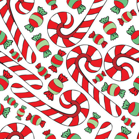 Festive seamless pattern with sweets and candy cane. Background with new year and Christmas treats. Hand drawn vector illustration for wrapping paper, fabric print, greeting cards design