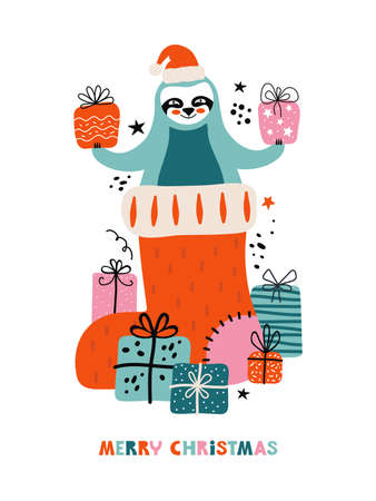 Merry Christmas and Happy New year greeting card with holiday lettering. Funny sloth in Santa hat sitting in a Christmas sock with a lots of gifts. Cartoon character bear. Festive vector illustration