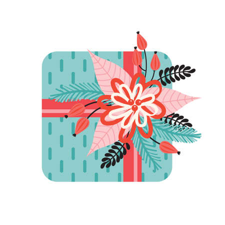 Gift with a bow is decorated with Christmas floral elements. Happy Christmas and new year. Poinsettia, Needles, flowers, leaves, berries. Trendy retro style. Design elements. Hand drawn illustration