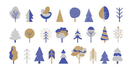 Set of deciduous and coniferous trees in gold, silver and blue colors. Winter forest in a simple geometric style. Design elements for Christmas and new year cards and banners in Scandinavian style.