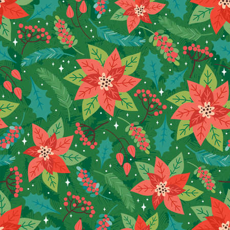 Merry Christmas and Happy New Year seamless pattern. Festive background with Christmas floral elements, poinsettia, Holly leaves, red berries, fir branches. Trendy retro style. Vector design template