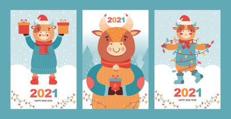 Set of Christmas and Happy New Year card. Funny bulls with gifts in the snow forest. Symbol 2021 year ox. Cartoon animal character on the background of winter landscape. Ilustrace