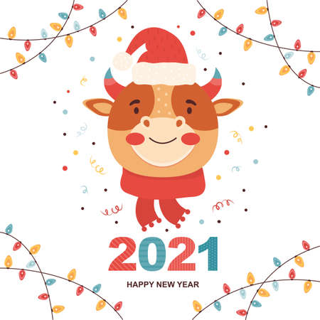 Christmas and Happy New Year illustrations. 2021 mascot is the bull. Cartoon funny character ox in a Santa Claus hat and in a knitted scarf. Close-up of a cow face.
