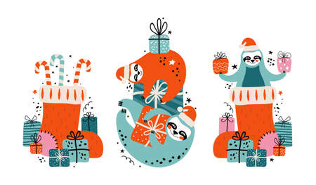 Set cute lazy sloths in Santa Claus hat with lots of gifts, candies and festive elements. Merry Christmas and Happy New year card or banner. Cartoon character bears.