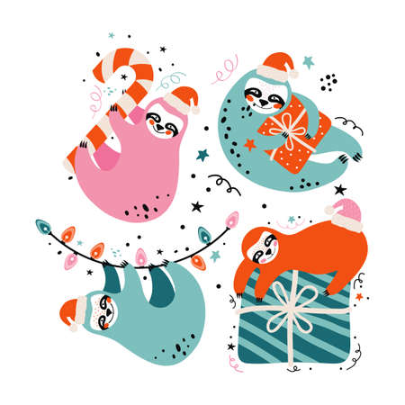 Set cute lazy sloths in Santa Claus costumes with gifts, sweets and festive elements. Merry Christmas and Happy New year greeting card. Cartoon character funny bears.