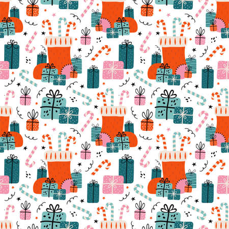 Merry Christmas and happy new year seamless pattern. Festive background with Christmas knitted sock, lots of gifts, sweets, candy cane.