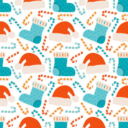 Merry Christmas and happy new year seamless pattern. Festive background with Christmas knitted sock, Santa Claus hat, candy cane, sweets. Ilustrace