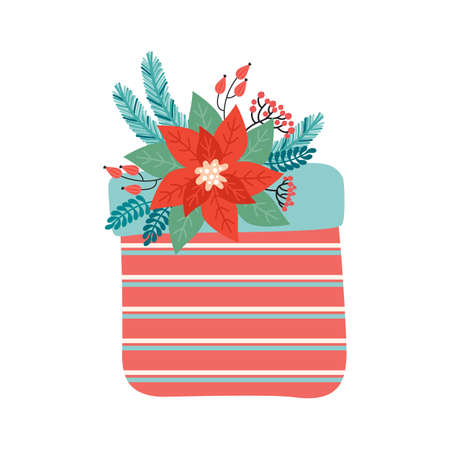 Gift with a bow is decorated with Christmas floral elements. Happy Christmas and new year. Poinsettia, Needles, flowers, leaves, berries. Trendy retro style.