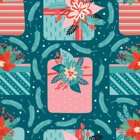 Merry Christmas and happy new year seamless pattern. Festive background with gifts ornate decorated floral elements, coniferous branches, red berry, Holly leaves. Ilustrace