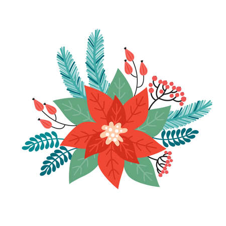 Christmas holiday flower arrangement made of plant decorative elements. Merry Christmas and happy new year. Poinsettia, Needles, flowers, leaves, berries, spruce branch. Illustration in retro style