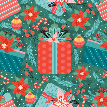 Merry Christmas and Happy New Year seamless pattern with Christmas toys, poinsettia, candy cane and gifts. Ornate holiday elements on the background of fir branches. Vector illustration in retro style
