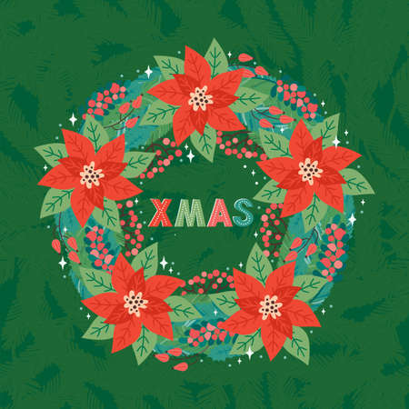 Merry Christmas and Happy New Year square greeting card or banner in retro style. Ornate christmas wreath of fir branches, Holly leaves, red berries and poinsettia. Xmas greeting text. Design template