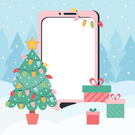 Smartphone template with an empty screen on a new year and Christmas background. Winter landscape with a Christmas tree and gifts. Mobile phone with touch screen and blank interface. Holiday online Ilustrace