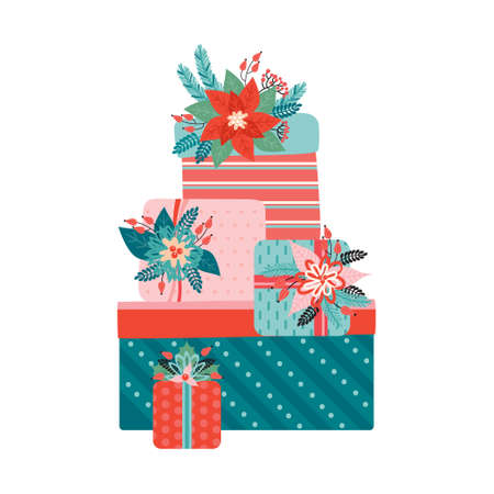 Big pile of colorful Gifts with a bows is decorated with Christmas floral elements. Happy Christmas and new year. Poinsettia, Needles, flowers, leaves, berries. Trendy retro style. Vector illustration