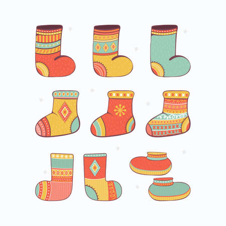 Christmas set of colorful warm knitted socks and winter shoes. Winter stylish woolen clothing with Norwegian ornaments. Bundle of trendy clothing items. Modern garment. Cartoon vector illustration.