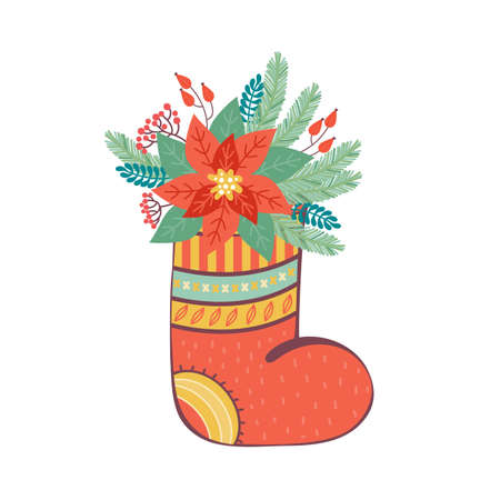 Christmas sock is decorated with various floral festive elements. Merry Christmas and happy new year greeting card or banner. Composition of fir branches, red berries, Holly leaves, poinsettia flower. Ilustrace