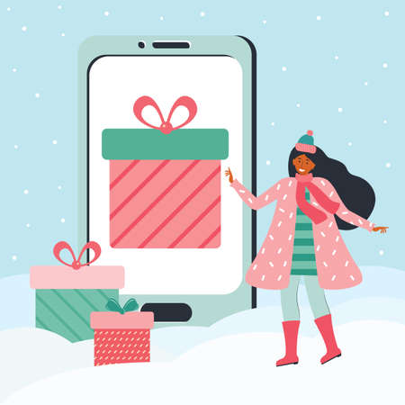 Woman in winter clothes chooses a gift on the huge smartphones screen. Holiday discount, promotion, gift, sale in the mobile app. Merry Christmas and new year. Online applications. Vector illustration
