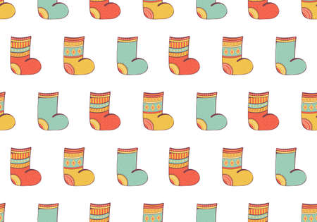 Seamless pattern of christmas socks and felt boots. Background knitted stockings decorated with ornaments. Fashionable items of warm winter clothing. Vector illustration in cartoon style