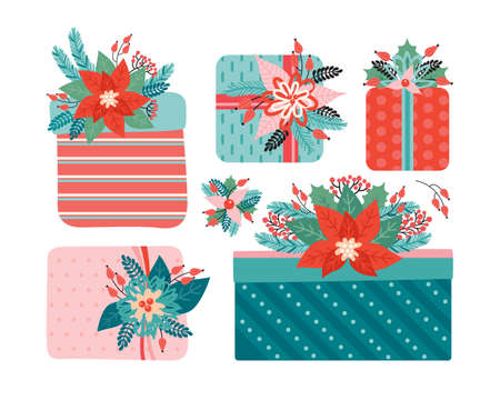 Set of Gifts with a bow is decorated with Christmas floral elements. Happy Christmas and new year. Poinsettia, Needles, flowers, leaves, berries. Trendy retro style. Hand drawn vector illustration