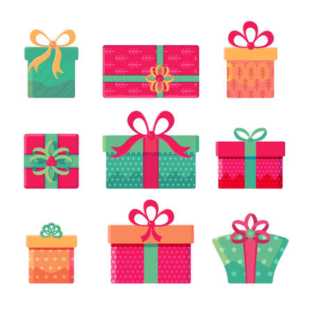 Set of different gift boxes with bows isolated on white background. Gifts for new year, Christmas, birthday. Collection of holiday items. Celebratory vector illustration in flat cartoon style Ilustrace