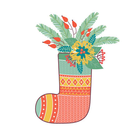 Christmas sock is decorated with various floral festive elements. Merry Christmas and happy new year greeting card or banner. Composition of fir branches, red berries, Holly leaves, poinsettia flower Ilustrace