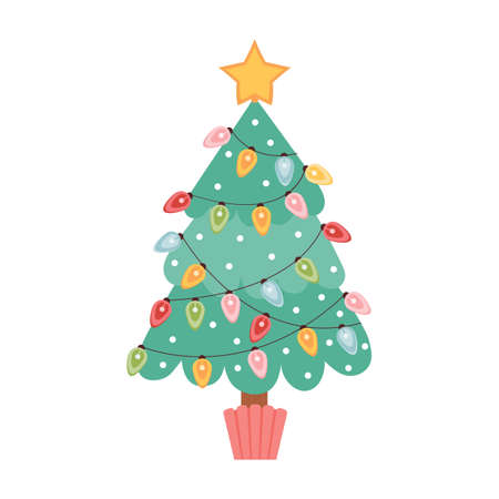 Christmas tree is decorated with garlands and star on the tree. Merry Christmas and happy new year greeting card or banner. Symbol of the new year. Holiday vector illustration in cartoon style