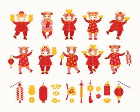 Collection Chinese new year 2021. artoon kids bulls in red traditional Chinese clothes and Asian good luck symbols. Symbol of the new year ox. Different holiday items. Hand drawn vector illustration.
