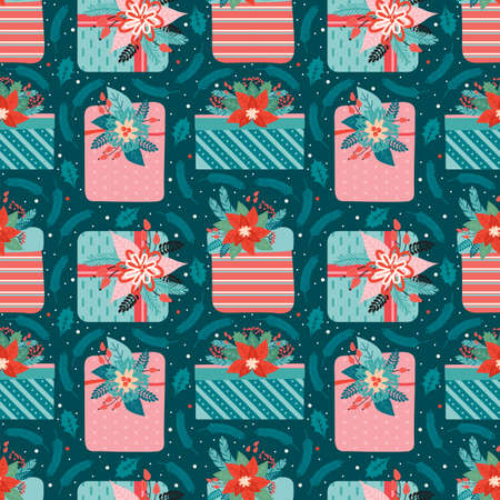 Merry Christmas and happy new year seamless pattern. Festive background with gifts ornate decorated floral elements, coniferous branches, red berry, Holly leaves. Vector illustration in vintage style.