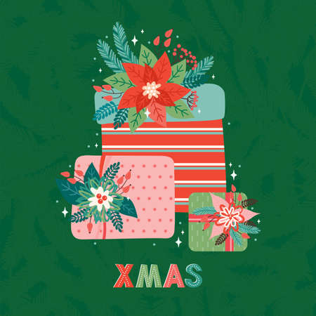 Merry Christmas and Happy New Year square greeting card or banner in retro style. Pile of gifts decorated of fir branches, Holly leaves, red berries and poinsettia. Xmas greeting text. Design template