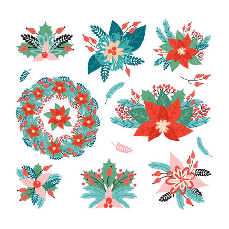 Set Christmas holiday arrangements made of plant decorative elements. Merry Christmas and happy new year. Poinsettia, Needles, flowers, leaves, berries, spruce branch. Illustration in retro style