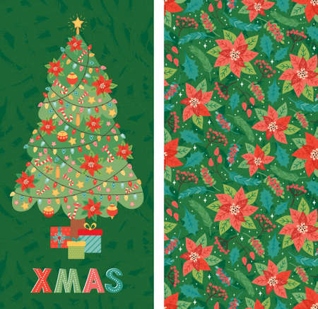 Merry Christmas and Happy New Year Christmas tree is decorated with toys, poinsettia, garland, candy cane, gifts. Holiday design template in traditional style for cards banner, greetings, invitation Ilustrace