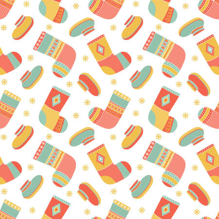 Seamless pattern christmas colorful warm knitted socks and winter shoes. Background from winter woolen clothing with Norwegian ornaments. Trendy clothing items. Modern garment. Vector illustration