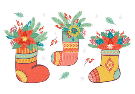 Merry Christmas and happy new year vector illustration. Holiday socks and boots decorated with various floral and plant elements. Christmas composition with fir branches, berries, Holly, poinsettia