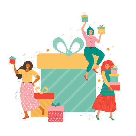 Giant gift boxes and group happy tiny women with a bunch of presents. People are holding gift boxes and celebrating birthday, Christmas, new year or important event. Holiday shopping and seasonal sale Ilustrace
