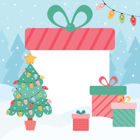 Editable template for new year and Christmas banners. Huge gift box on the background of a winter forest. Lot of gifts near the Christmas tree. Layout for social media design with empty space for text