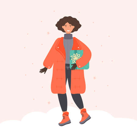 Positive young woman in winter clothes holding present at festive season shopping. Cartoon female character carrying of gift box. Colored festive person. New year, Christmas. Vector flat illustration