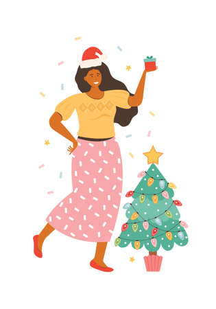 Happy young woman in Santa hat with gift box isolated on white. Cartoon Female character next to the Christmas tree holding present. New year and Christmas celebrations. Hand drawn vector illustration Ilustrace