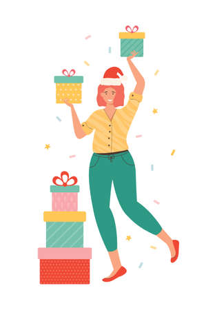 Happy woman in a Santa hat carrying heap of gift box. Female character holding presents isolated on white. New year and Christmas illustration. Joyful shopaholic person. Seasonal discount shopping