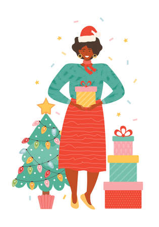 Happy african american woman in Santa hat with pile gift boxes. Female character next to the Christmas tree holding presents. New year and Christmas celebrations. Hand drawn vector illustration