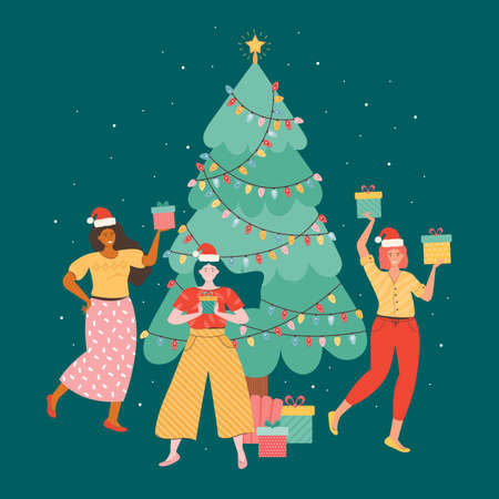 Happy female friends to celebrate the new year or Christmas. Positive women in Santa hats hold a pile of gift boxes against the background of a Christmas tree. New year party. Vector flat illustration