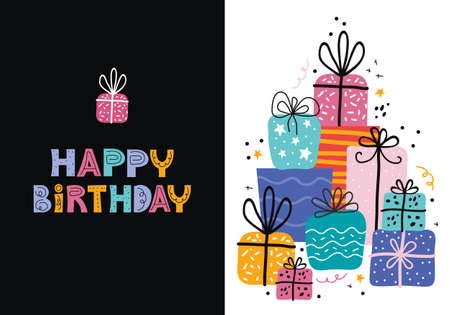 Birthday greeting cards design in vector. Illusztráció