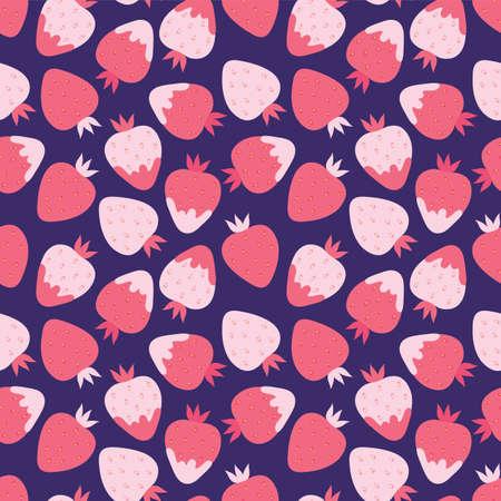 Pink strawberry with cream seamless pattern. Illusztráció