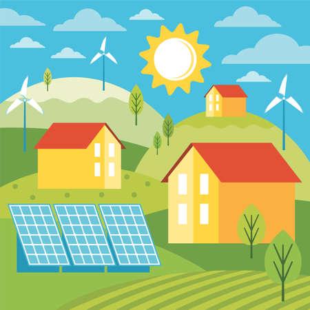Green energy an eco friendly modern house. Alternative energy. Environmentally friendly landscape with ecological infrastructure, solar panels, windmills, wind turbines. Vector concept illustration. Illusztráció