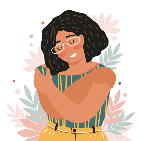 Concept of love yourself, self care, acceptance, healthy lifestyle. Woman with closed eyes smiles and hugs herself. Body positive and mental health. Happy female cartoon character. Vector illustration Ilustração Vetorial