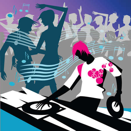 dj with club  people dancing  Stock Photo - 6060500