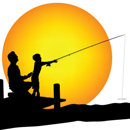 man and child silhouette fishing Stock Photo - 6060528