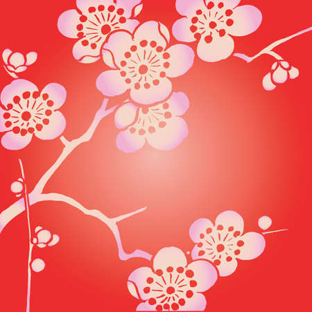 pink ohka on red background Stock Photo - 6060497