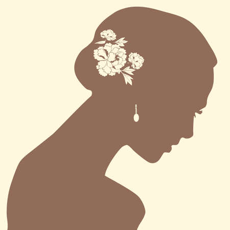 a beautiful woman portrait silhouette Vector